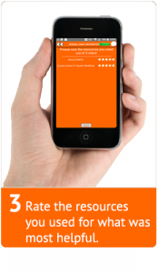A hand holding a mobile phone with the screen showing the resource rating modal window.