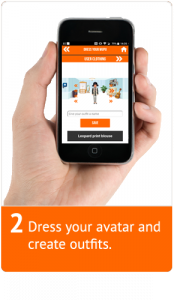 A hand holding a mobile phone displaying the dress section of the app.