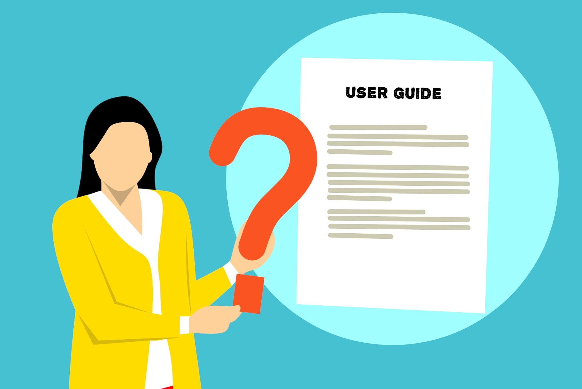 A woman holding a question mark. A piece of paper next to her that says 'user guide'.
